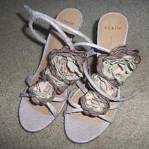 Aerin Made in Italy Blush Pink T-Strap Sandal With Silk Flowers Size 5 1//2 Photo