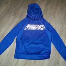 Aero Aeropostale Mens Pullover Logo Hoodie Hooded Sweatshirt Blue Sz Small Photo