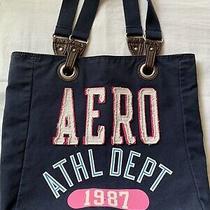 Aeropostale 1987 Navy Blue Cotton Tote Bag Shoulder Bag Purse 14