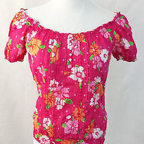Aeropostale Aero Short Sleeve Bright Pink Floral Blouse Dress Top Size Small S Photo