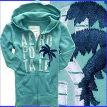Aeropostale Appliqu Embroider Palm 3/4-Sleeve Aqua Blue Fleece Hoody Sz Xs Photo