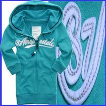 Aeropostale Applique Bead Accented 3/4 Sleeve Blue Aqua Fleece Hoody Womens M Photo