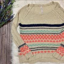 Aeropostale Aztec Print Knit Sweater Cream Pink Loose Knit Size Large Photo