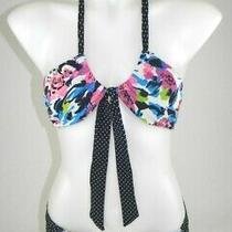 Aeropostale Bikini  Women's Sz Medium Black Floral 2 Pcs Bandeau Swim Suit Euc   Photo