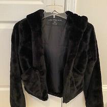 Aeropostale Black Faux Fur Crop Jacket Size Xs Photo