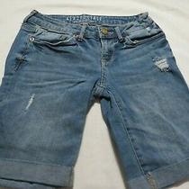 Aeropostale Blue Denim Distressed Bermuda Shorts  Size 0 Photo