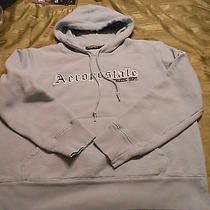 Aeropostale Blue Hooded Sweatshirt  W Embroidered Lettering  Juniors Size M Photo