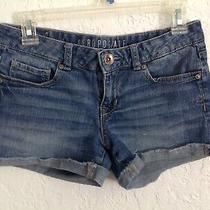 Aeropostale Blue Jean 5 Pockets Cuff Midi Short-Shorts Size 4 Photo