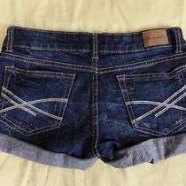 Aeropostale Blue Jean Shorts Cuffed Size 1 / 2 Dark Wash Photo