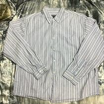 Aeropostale Blue Striped Long Sleeve Collared Button Down Dress Shirt Large Photo