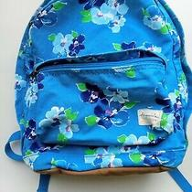 Aeropostale Blue Turquoise Floral Canvas Dual Handle Zip Backpack Bookbag Purse Photo