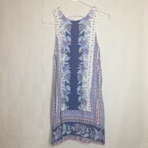 Aeropostale Blue White Floral Sleeveless Lace Up Mini Shift Dress Size Medium  Photo