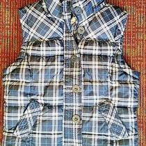 Aeropostale Blue White Plaid Zip & Button Front Semi Puffy Vest Misses Medium Photo
