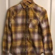 Aeropostale Boyfriend Fit Womens Juniors Xs Yellow Button Up Collared Flannel Photo