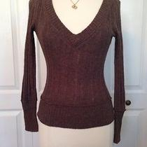 Aeropostale Brown Cable v Neck Sweater Medium  Photo