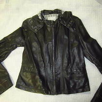 Aeropostale-Brown Faux Leather Ladies Hooded Jacket-Size L Photo