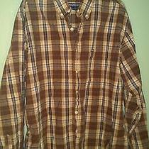 Aeropostale Button Shirt Brown Blue Plaid Large American Eagle  Photo