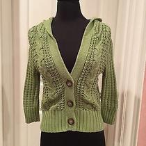 Aeropostale Cable Knit Green Hooded Cardigan/sweater Photo