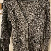 Aeropostale Cable Knit Sweater Cardigan Charcoal Marble Gray Size Small S Photo