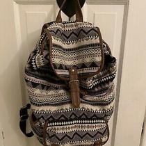 Aeropostale Cloth Backpack Beige Black Brown Multi & Imitation Leather Trim Photo