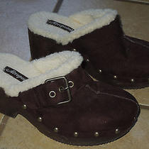 Aeropostale Dark Brown Mules Faux Suede Size 6 Clogs Shearling Lined  Photo