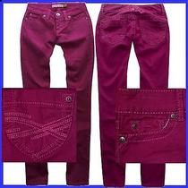 Aeropostale Dark Pink Straight Slim Smooth Bayla Jeans Pants Womens Ez 0 2728 Photo