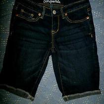 Aeropostale Denim Blue Jean Bermuda Shorts Cuffed Size0 Euc 27