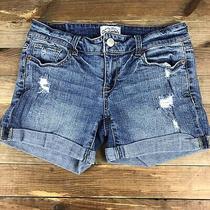 Aeropostale Denim Jean Shorts Size 1/2 (28x4) Distressed Medium Rinse Stretch Photo