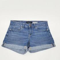 Aeropostale Denim Jeans Midi Shorts Cuffed Womens Size 4 R Stretchy Blue Photo