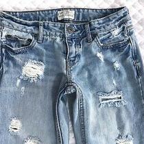 Aeropostale Destroyed Chelsea Boot Cut Low Rise Denim Blue Jeans Size 0 Photo