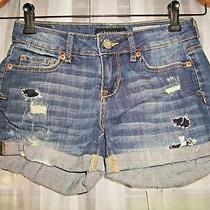 Aeropostale Destroyed Midi Blue Jean Shortsdistressed Stretch Hot Pantssz 00 Photo