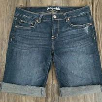 Aeropostale Distressed Denim Bermuda Jean Shorts Size 10 Stretch Cuffed M34 Photo