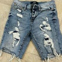 Aeropostale Distressed Denim Black Shorts Size 27 Photo
