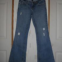 Aeropostale Distressed med.wash Denim Jeans Mid-Rise Flares Sz 0 Short Photo