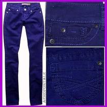 Aeropostale Dk Purple Straight Slim Smooth Bayla Jeans Pants Womens   0 2728 Photo