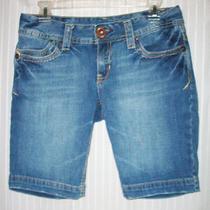 Aeropostale Factory Faded Distressed Blue Jean Cotton Denim Bermuda Shorts 5/6  Photo
