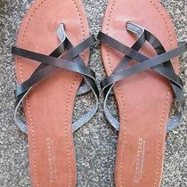 Aeropostale Faux Leather Flip Flops Sandals Thongs Black / Brown Size 9 Photo