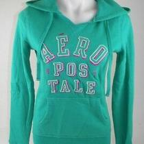 Aeropostale Green Hoodie With Sparkle Letters Women's Size Medium Cotton Blend G Photo