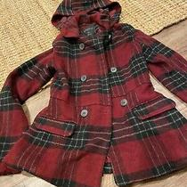 Aeropostale Hooded Peplum Peacoat Plaid Coat Hood Red Black Pleat Womens Sz Xs Photo