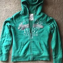 Aeropostale Hooded Zip Sweatshirt Wool Lined Size L Green Photo
