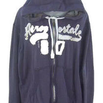 Aeropostale Jr Women's Large Zip Front Hoodie Sweat Shirt Hooded Top Navy Blue Photo