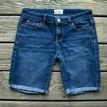Aeropostale Junior's Women's Denim Stretch Cuffed Shorts Sz 3/4  Cute  Photo