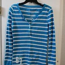 Aeropostale Juniors Blue White Striped Thermal Stretch Tee Size Large Photo