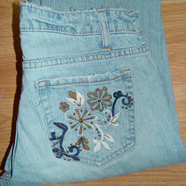 Aeropostale Juniors Denim Blue Jeans Ultra Low Boot Cut Grunge Size 1/2 Short  Photo