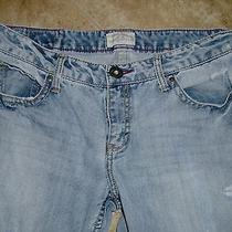 Aeropostale Juniors Distressed Jeans Size 11/12 Reg Hailey Flare Taped 36 X 32 Photo