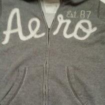 Aeropostale Juniors Size S Gray Zip Front Hoodie Hooded Sweatshirt Used Photo