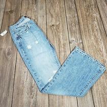 Aeropostale Juniors Sz 5/6 Light Wash Distressed Low Rise Flare Blue Jeans Nwt Photo