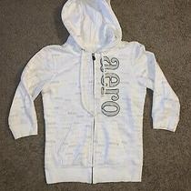 Aeropostale Juniors White/green Full Zip Hooded Jacket Size Medium Photo