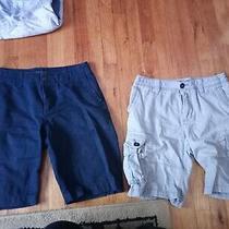 Aeropostale Khaki Shorts 2 Pairs Size 28 Navy and Grey Photo