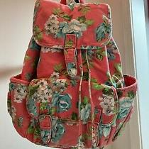 Aeropostale Large Backpack Coral Teal Floral Denim Lots of Pockets & Drawstring Photo